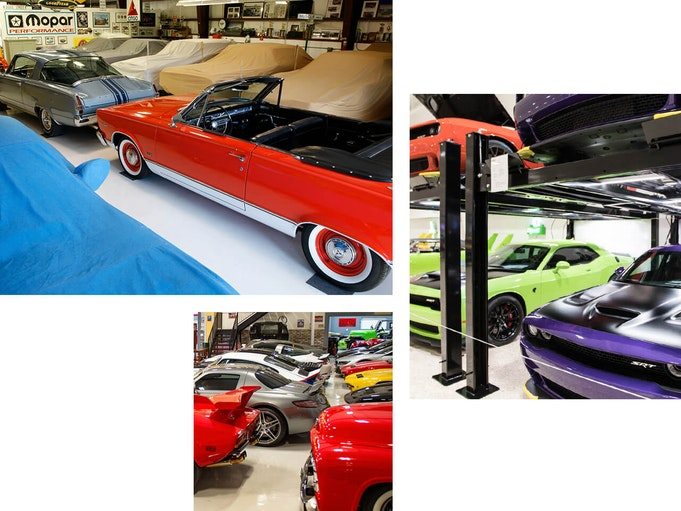 Collector vehicles lined up at a storage facility.