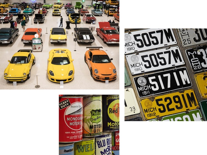 A museum displaying vibrant collector vehicles, vintage license plates, and oil can memorabilia.